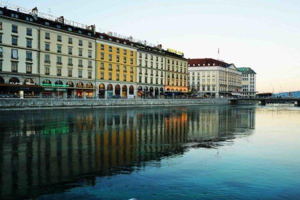 Genève, quai des Bergues, lac Léman