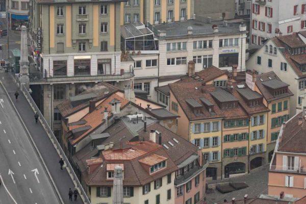 Lausanne le pont Bessière et la rue Cheneau-de-Bourg