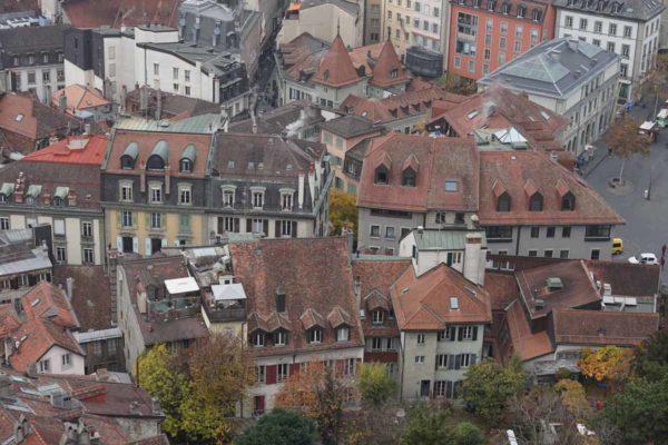 Lausanne vue aérienne du cente historique