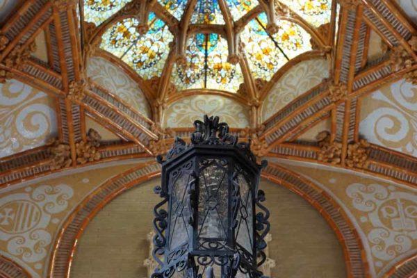 Espagne - Barcelone Sant Pau plafond de l'entrée
